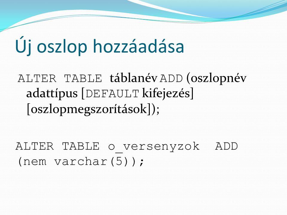 Új oszlop hozzáadása ALTER TABLE táblanév ADD (oszlopnév adattípus [DEFAULT kifejezés] [oszlopmegszorítások]);